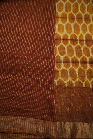 Yellow and Honey Brown Tussar Silk Shibori Saree