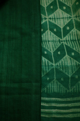 Green with Off White Tussar Silk Shibori Saree