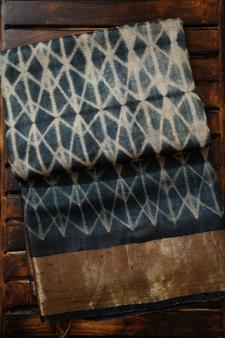 Lines in Bluish Grey Tussar Silk Shibori Saree