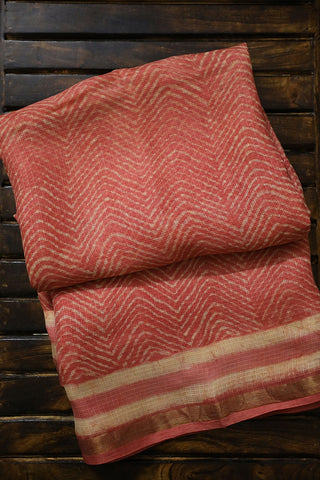 Pinkish Peach Block Printed Kota Silk Saree