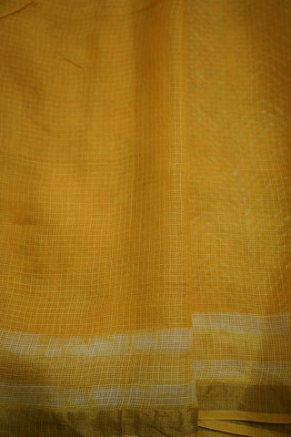 Yellow Block Printed Kota Silk Saree