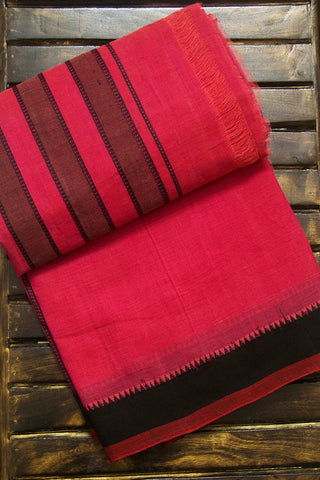 Pink Black Small Temple Kuppadam Border Handwoven Cotton Saree