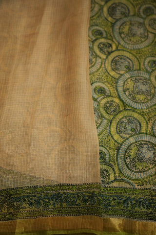 Green with Blue Circles Block Printed Kota Silk Saree
