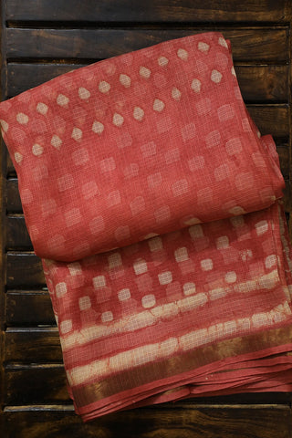 Peachish Pink Block Printed Kota Silk Saree