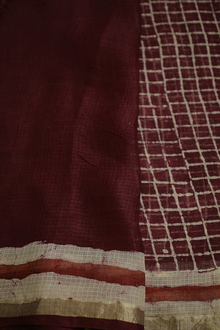 Maroon with Beige Checks Block Printed Kota Silk Saree
