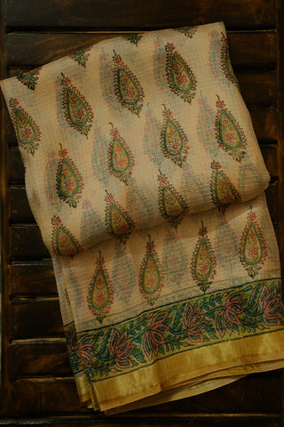 Light Beige with Green and Pink Block Printed Kota Silk Saree