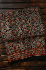 Rust Red with Faded Indigo Modal Silk Saree