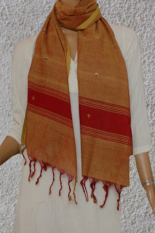 Yellowish Maroon with Butta Handwoven Khadi Stole