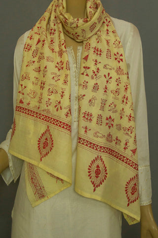 red with Creme Tussar Silk Kantha Embroidered Stole