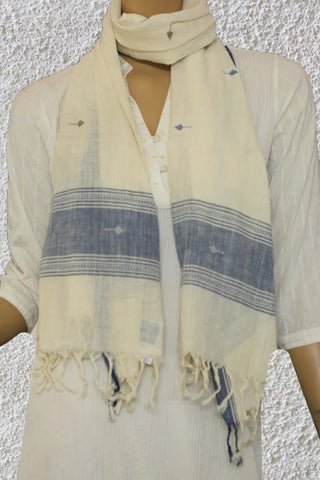 Indigo Blue in Off White Handspun Handwoven Stole