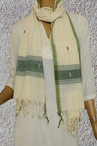 Off White with Butta Handwoven Khadi Stole
