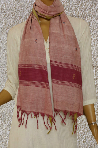Double Shade Pink with Butta Handwoven Khadi Stole