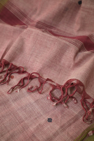 Blue and Red Butta in Double Shade Pink Handwoven Khadi Stole