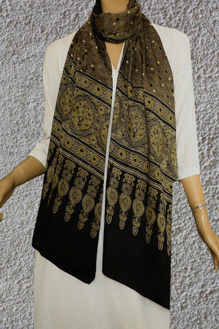 Dots and flowers Ajrak Modal Silk Stole