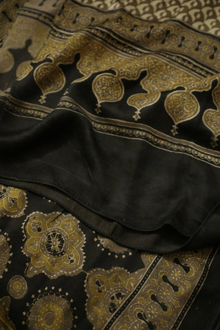 Black with Light Yellow Ajrak Modal Silk Stole