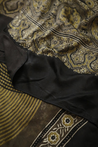 Mustard Yellow and Black Ajrak Modal Silk Stole