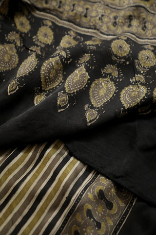 Lines in Black and Mustard Yellow Ajrak Modal Silk Stole