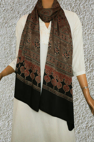 Maroon and Black Rangoli Designs Ajrak Modal Silk Stole
