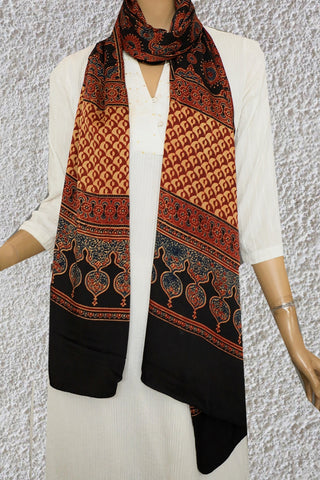 Blue and Maroon in Black Ajrak Modal Silk Stole