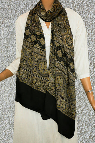 Intricate Design in Mustard Yellow Ajrak Modal Silk Stole