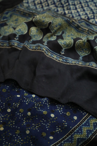 Indigo Blue with Dots Ajrak Modal Silk Stole