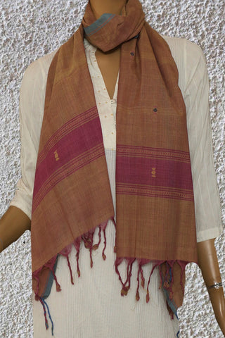 Double Shade Yellowish Pink Handwoven Khadi Stole