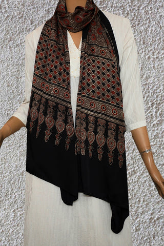 Grey with Maroon Circles Ajrak Modal Silk Stole
