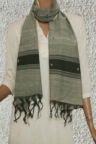 Grey with Round Butta Handspun Handwoven Stole