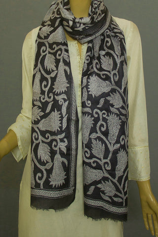 Black Tussar Silk Kantha Embroidered Stole