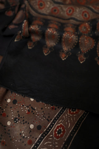 Greyish Brown with Dots Ajrak Modal Silk Stole