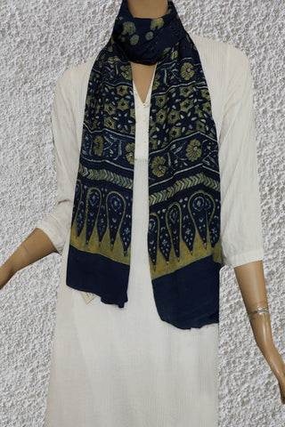 Indigo with Light Yellow Gajji Silk Ajrak Stole