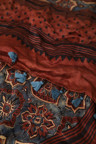 Brownish Maroon with Intricate Design Gajji Silk Ajrak Stole