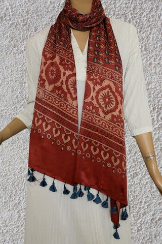 Beige with Blue Floral Gajji Silk Ajrak Stole