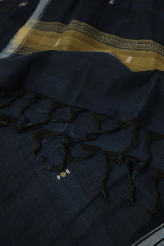 Blackish Blue Handwoven Khadi Stole
