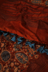 Leaves and Flowers in Rust Brown Mulbery Silk Ajrak Stole