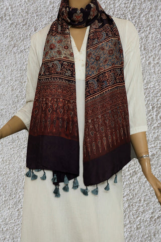 Deep Brown Mulbery Silk Ajrak Stole