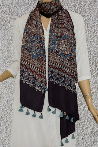 Blackish Brown Mulberry Silk Ajrak Stole