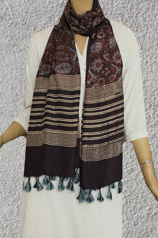 Leaves in Dark Brown Mulberry Silk Ajrak Stole