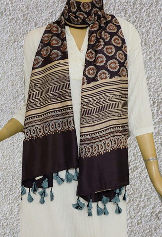 Dark Brown Mulberry Silk Ajrak Stole