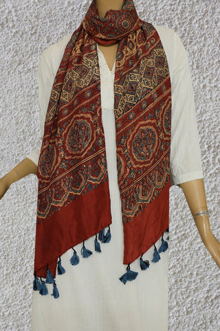 Maroon with Beige and Blue Mulberry Silk Ajrak Stole