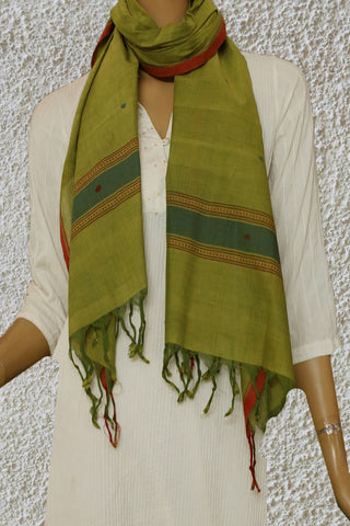 Butta in Yellowish Green Handwoven Khadi Stole