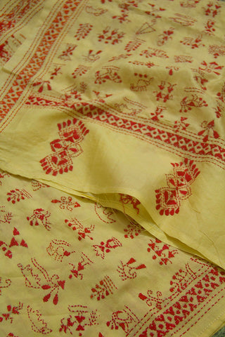 Red Warli Design Tussar Silk Kantha Embroidered Stole