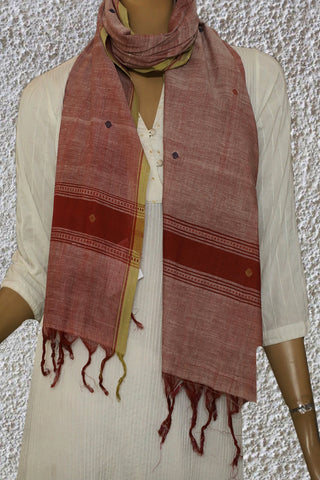 Round Butta in Double Shade Maroon Handspun Handwoven Stole
