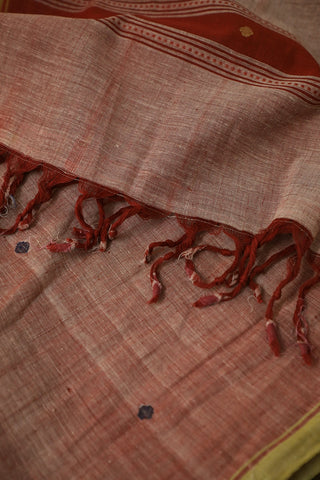 Round Butta in Double Shade Maroon Handwoven Khadi Stole