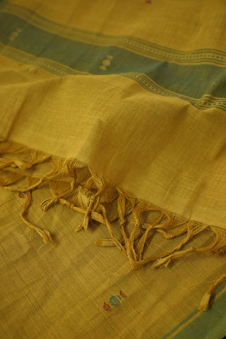 Green Border in Yellow Handwoven Khadi Stole