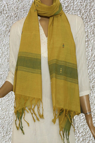 Green Border in Yellow Handspun Handwoven Stole