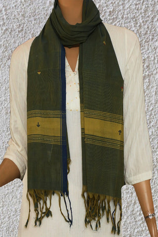 Double Shade Green with Blue Handspun Handwoven Stole
