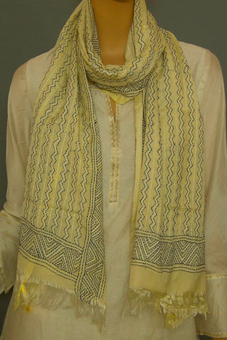 Off White with Black Zig Zag Tussar Silk Kantha Embroidered Stole