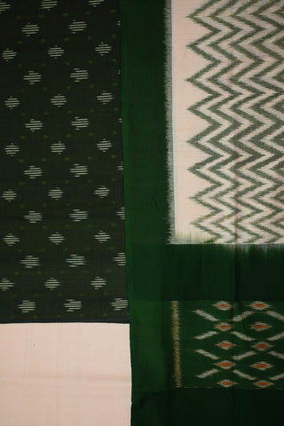 Moss Green Handwoven Ikat Cotton Full Suit