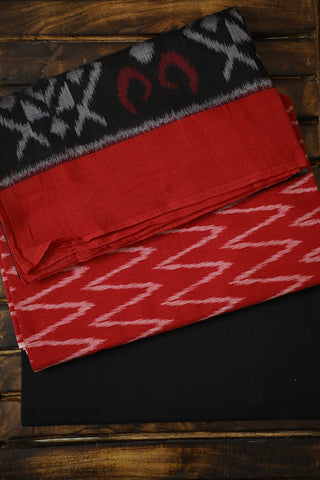 Zig Zag in Red Handwoven Ikat Full Suit